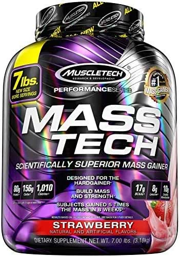MuscleTech Mass Tech Mass Gainer Protein Powder, Build Muscle Size & Strength with High-Density Clean Calories, Strawberry, 7lbs (3.2kg)
