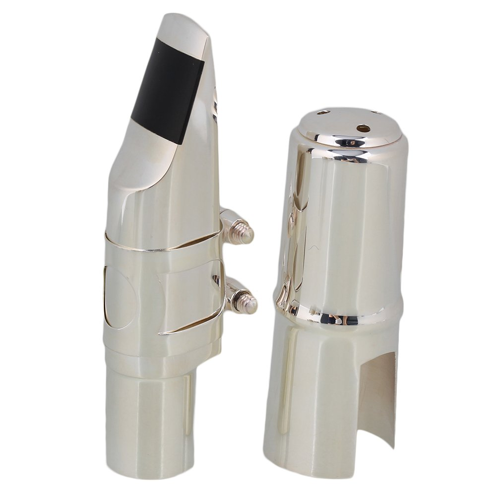 Yibuy #7 Silver Nickel-plated B-flat Soprano Saxophone Mouthpiece with Ligature Reed