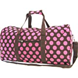 Large 22'' Pink Brown Polka Dot Duffle Dance Cheer Gym Pageant School Travel Bag