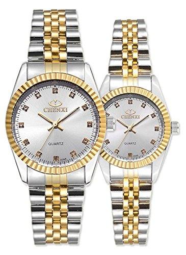 Swiss Brand Two Tone Watch Men Women Gold Silver Stainless Steel Waterproof Couple Watches Gift of 2 (White)