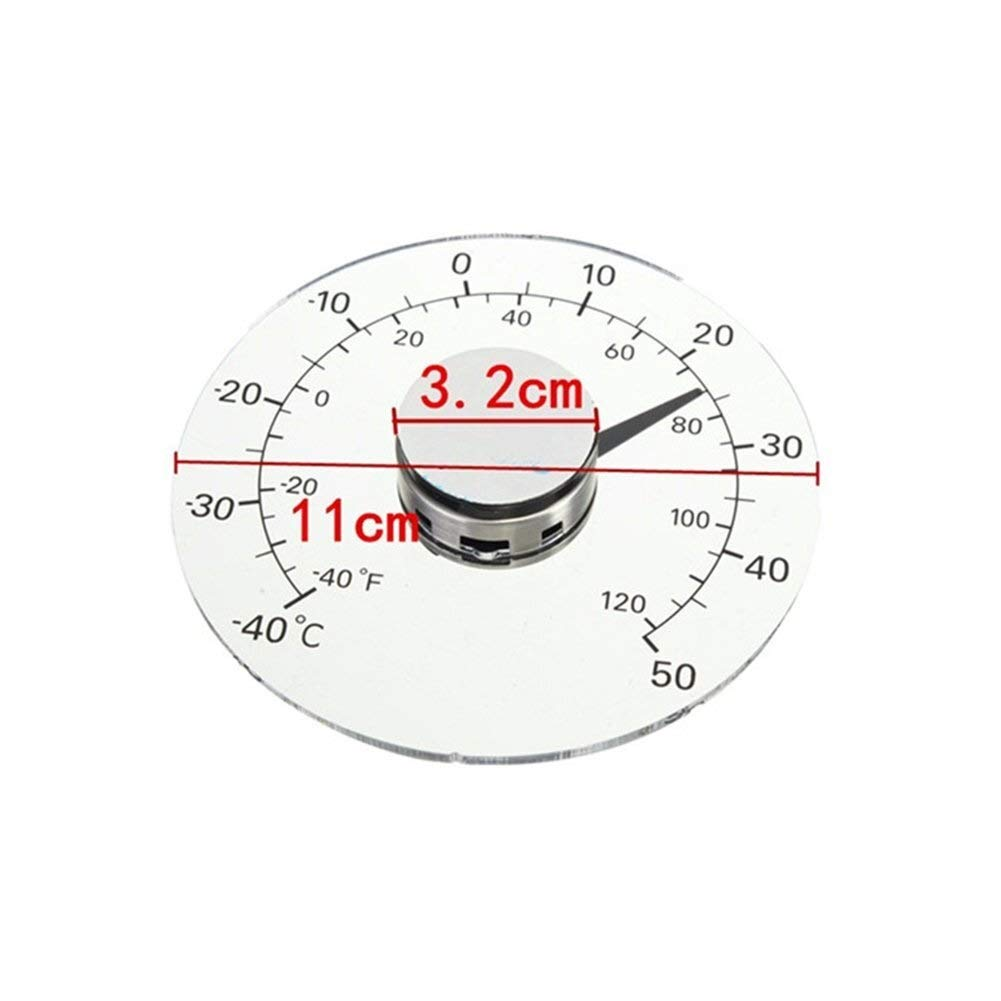 Outdoor Thermometer Fahrenheit//Celsius Degrees Transparent Round Outdoor Window Battery-free Self Adhesive Waterproof Home Thermometer For Door /& Window