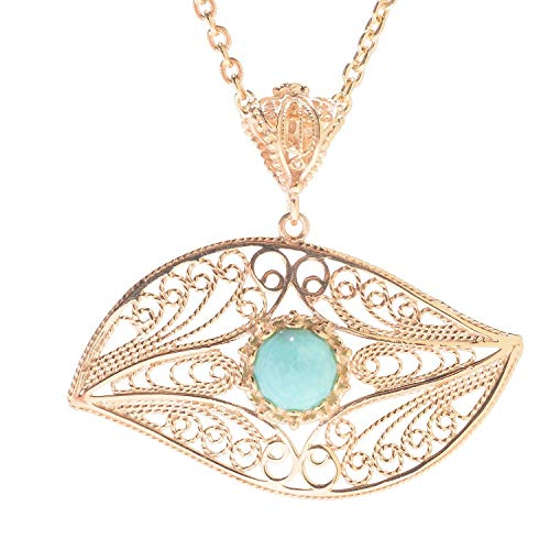 (April Venus 18K Gold Plated 8mm Turquoise Evil Eye Pendant)
