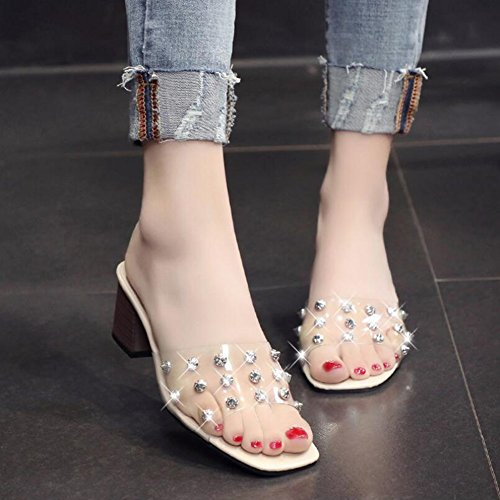 Sandals Rivets 35 Evening Color Summer Club Shoes PVC Party Heel Dress Chunky amp; A Transparent Sandals Size Women's for 84qXAA