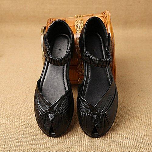 Hook Slip Flat Leather Casual Flat Fish Black Socofy Women's Mouth Loop Soft On Vintage Sandals Elastic Shoes YwwqB4C