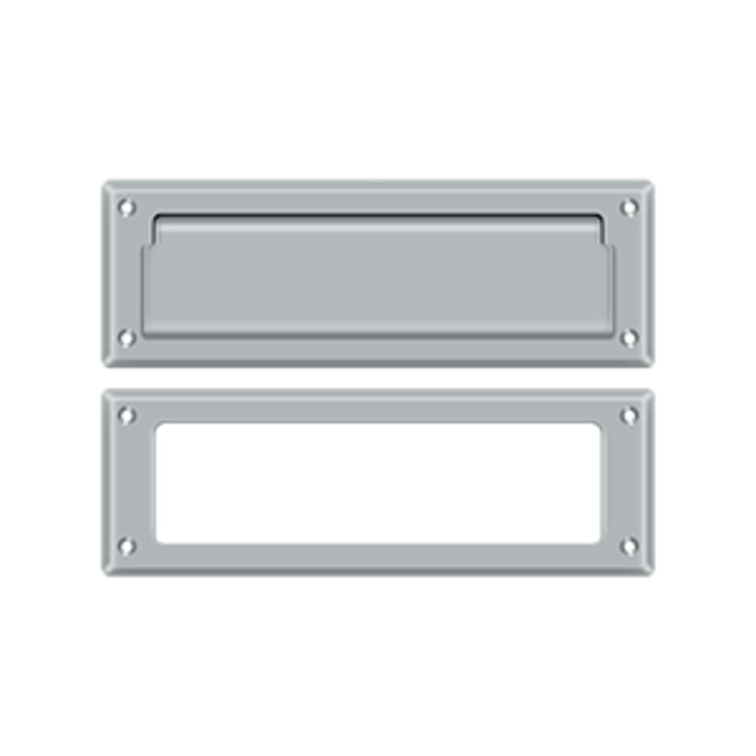 Deltana MS626 8-7/8 Inch Wide Solid Brass Mail Slot with Interior Frame, Brushed Chrome