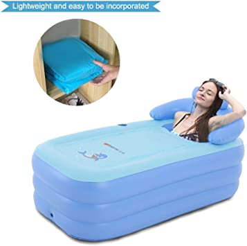 Inflatable Bath Tub Pvc Portable Tub Spa Environmental Portable Tubs for Adults Portable Soaking Tub Bathtub Bathroom Spa For An Adult with Air Pump