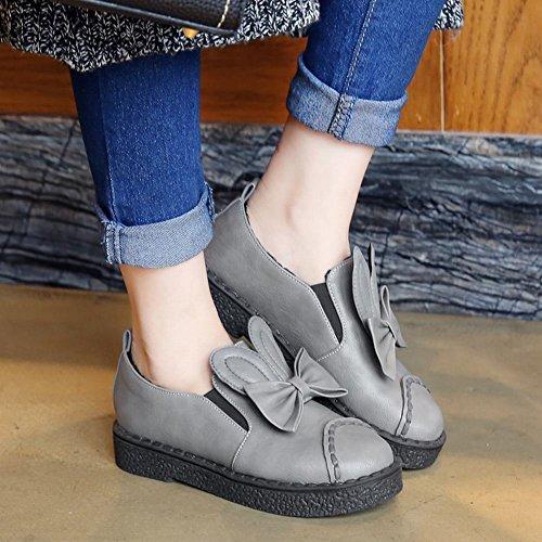 Carolbar Womens Plus La Taille Arcs Lapin Oreilles Mignon Lolita Appartements Chaussures Gris
