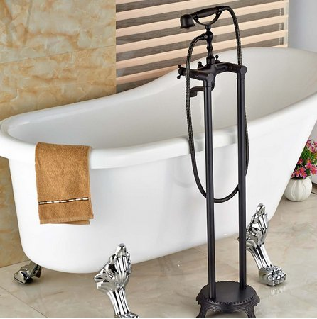 GOWE Luxury Oil Rubbed Bronze Floor Mounted Bathroom Tub Faucet W/ Hand Shower Sprayer Solid Brass Mixer Tap by Gowe (Image #3)