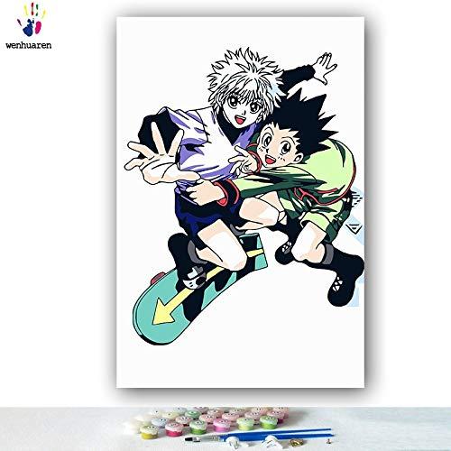 KYKDY DIY Färbungen Bilder Bilder Bilder nach Zahlen mit Farben Vollzeit Jäger japanische Manga-Bild Zeichnung Malen nach Zahlen gerahmt, 0382,60x75 kein Rahmen B07MYV2G5V | Viele Stile  bbdcb4