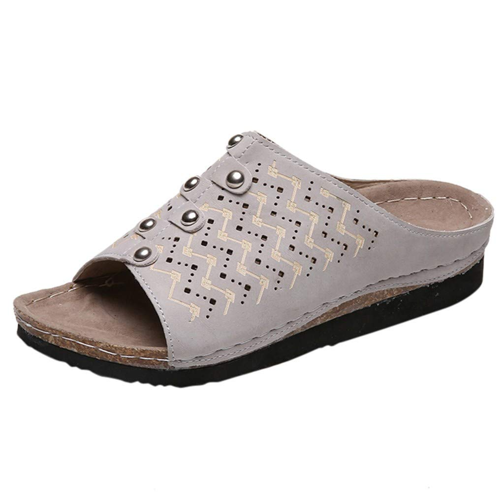 Meigeanfang Women Slippers Flat Rivet Open Toe Soft Bottom Non-Slip Beach Shoes Rome Sandals (Gray,8US) by Meigeanfang