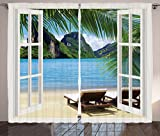 Ambesonne Nautical Home Decor Curtains, Palm Tree Decor Ocean Beach Seascape Sunbeds Balcony Summer Picture Tropical Island, 2 Panels Set Curtains for Living Room and Bedrooms, Blue Green and White For Sale