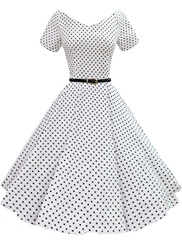 [iLover Women 1950s V-Neck Vintage Rockabilly Swing Evening Party Dress] (1950 Dress)