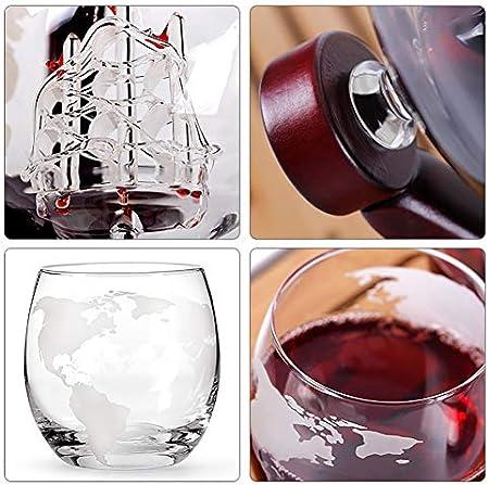 AURALLL Decantador de Globo de Cristal con 2 Tazas de Vidrio de Globo Craft Wine Bottle Holder Decanter Wine Set Incluye Base de Madera