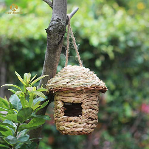 Kimdio Bird House,Winter Bird House,Bird Houses for Outside Hanging,Birdhouse Kits for Kids to Build,Natural Bird Hut, Wild Bird Nest,Bluebird House Outdoor, Grass Handwoven Bird Nest (Mushroom)