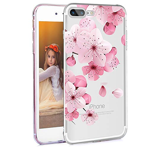 Feelingjoy Compatible iPhone 8 Plus/iPhone 7 Plus Case Girly Cute Cherry Blossom Floral Flower Design Clear Protective Slim Soft TPU Heavy Duty Shockproof Phone Case for Girls Women ,Pink Flowers