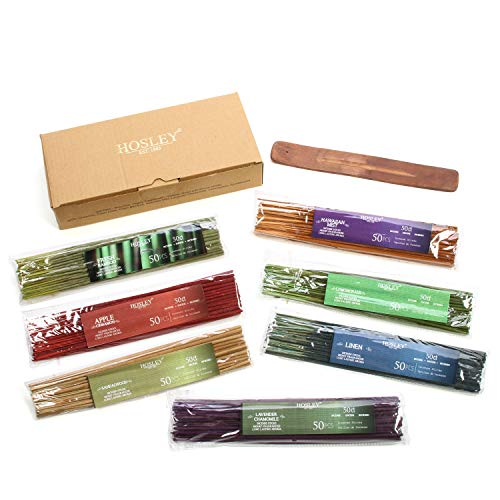 Hosley's Assorted 350 Pack Incense Sticks, Highly Fragrances include: Apple Cinnamon, Hawaiian Mist, Sandalwood, Linen, Fresh Bamboo, Lemongrass, and Lavender Chamomile. Great for Aromatherapy. O3