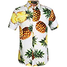 SSLR Men's Pineapple Button Down Short Sleeve Hawaiian Shirt