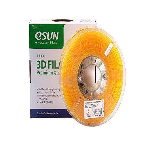 eSUN 3D 1.75mm PETG Yellow Filament 1kg (2.2lb), PETG 3D Printer Filament, Semi-Transparent 1.75mm Yellow