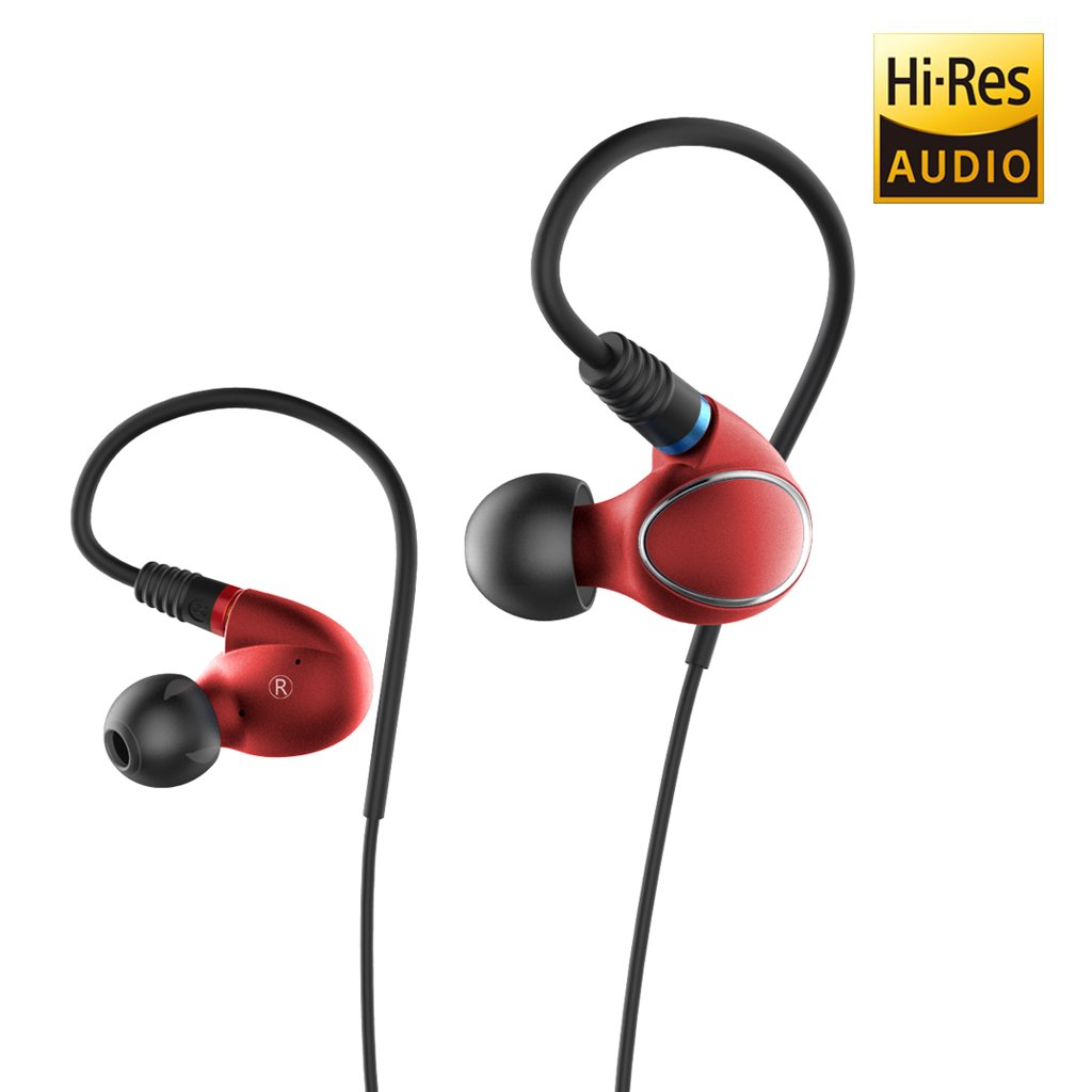 FiiO FH1 Dual Driver Hybrid Over the Ear Headphones/Earphones/Earbuds In-Ear Monitors with Android Compatible Mic and Remote (Red)