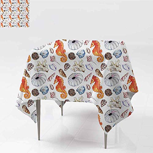 DILITECK Square Tablecloth Animal Bunch of Deep Sea Elements with Screw Shell Crabs Urchin Oyster Coral Ammonit Print Soft and Smooth Surface W63 xL63 Multicolor