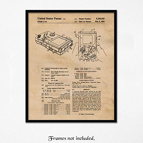 Vintage Nintendo GameBoy Patent Poster Print, Set of 1 (11×14) Unframed Photo, Great Wall Art Decor Gifts Under 15 for Home, Office, Garage, Man Cave, College Student, Teacher, Comic-Con & Movies Fan