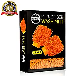 Car Wash Mitt - 2 Glove Pack - Premium Chenille Microfiber Material, Double Sided, Scratch Free, Lint Free Orange Microfiber Noodles - Super Absorbent - Best Mitts for Men & Women on Amazon. Universal Size. 100% Satisfaction Guaranteed!