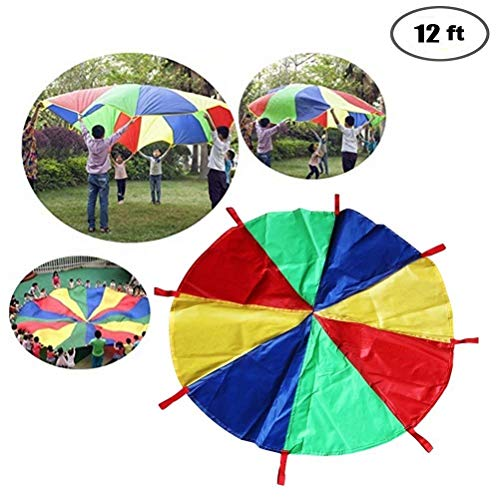 QBABY 12 Foot Rainbow Parachute Kids Sport Parachute 16 Handles Play Parachute Children Outdoor Games Kindergarten Parent-Child Activities Early Education Pull Parachute Birthday Gift by QBABY