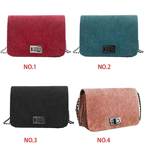 Solid Chilie Bags Corduroy Handbag shoulder Single Girl Pink Korean Color Crossbody Messenger Chain Strap Bags Women Style CrqOSgxwCn