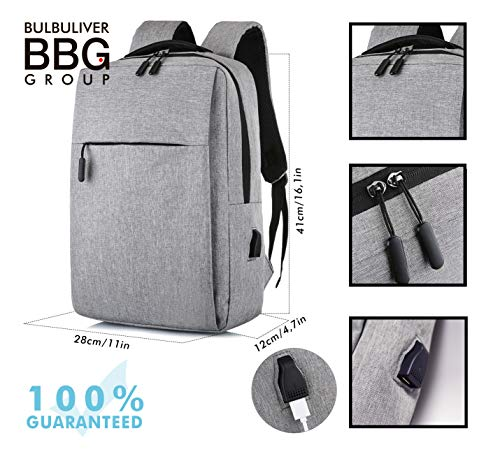 BulBuliverGroup Easy Light and Compact Laptop Backpack, Business Case with USB Charging Port, Slim Computer School Bag, Fits 15.6 Inch Laptop Notebook Gray, Stylish Durable Oxford Fabric Sleeve