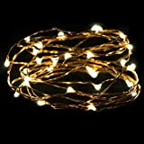 YJM Energy Saving Waterproof Warm White 2M 20LED Button Cell Powered Silver Copper Wire Mini Fairy String Lights BG for Weddings Party Festival Pub