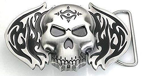 Wholesale Skull Buckle Belt - Flaming Skull Tribal Belt Buckle Wholesale