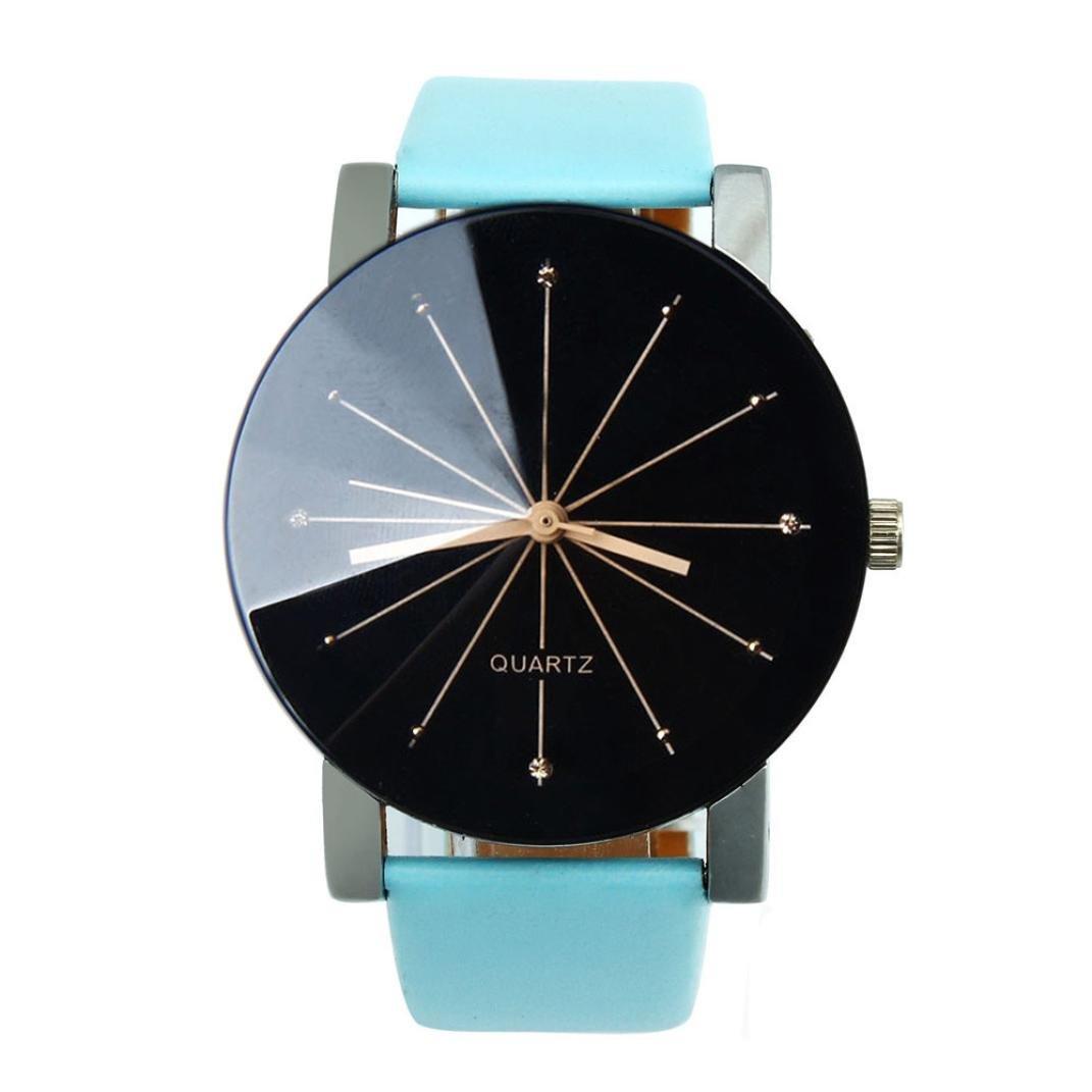 Sansee Männer und Frauen Quarz Zifferblatt Uhr Leder Armbanduhr-konvex Paar Uhr (Blau)