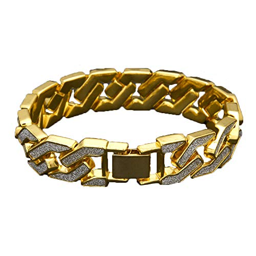Unpara Hip Hop Bling Cuban Bracelet Sand Explosion Chain Gold Silver Mens Bracelet [Ship from USA] (Gold)