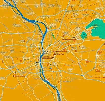 Amazon Com Wall Art Print Entitled Minimalist Modern Map Of Cairo