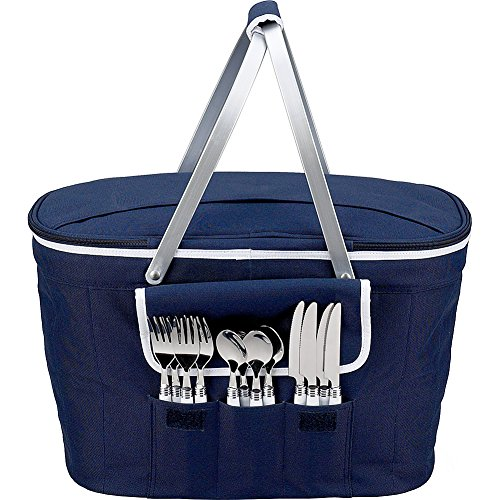 Find Discount Picnic at Ascot Collapsible Insulated Picnic Basket Equipped with Service For 4 - Navy