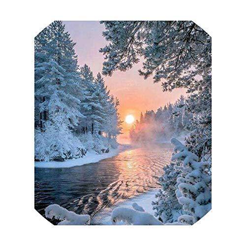 - 5D DIY Diamond Painting Cross Stitch Winter Snow Scene Full Square Drill Diamond Embroidery Mosaic Needlework Home Decor Craft,Winter,50x60cm