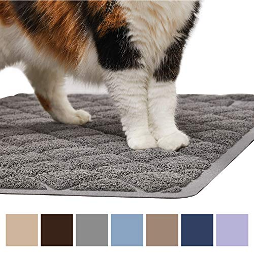 Gorilla Grip Original Premium Durable Cat Litter Mat (35x23), XL Jumbo, No Phthalate, Water Resistant, Traps Litter from Box & Cats, Scatter Control, Soft on Kitty Paws, Easy Clean Cat Mat (Gray) ()