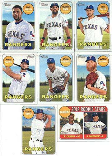 2018 Topps Heritage Texas Rangers Team Set of 8 Cards: Joey Gallo(#48), Nick Gardewine/Willie Calhoun(#86), Rougned Odor(#110), Andrew Cashner(#149), Elvis Andrus(#153), Delino DeShields(#227), Nomar Mazara(#335), Carlos Gomez(#400)
