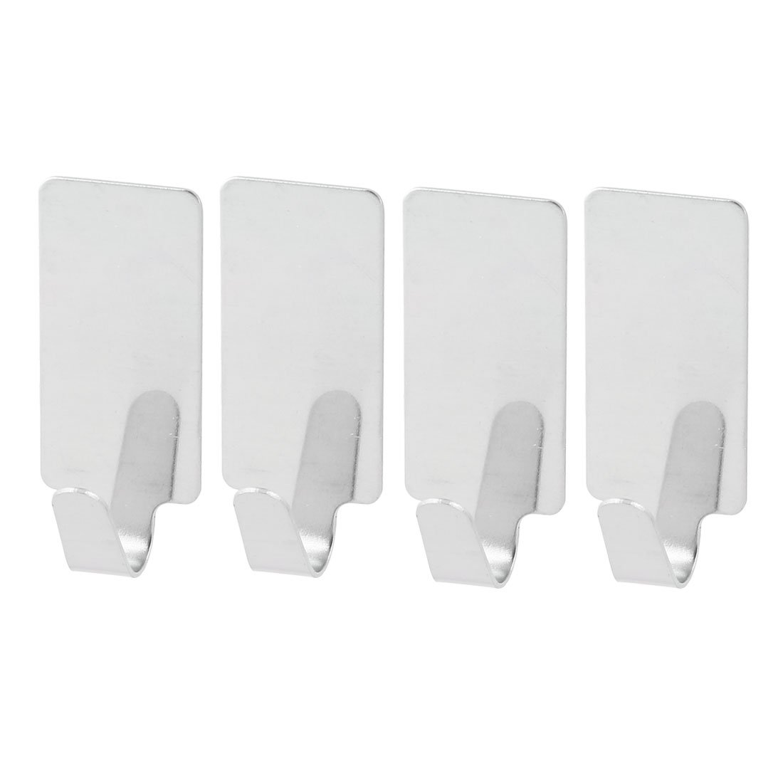 uxcell Stainless Steel Home Wall Self-adhesive Towel Cap Hanging Hook Hanger 4pcs Silver Tone durable service