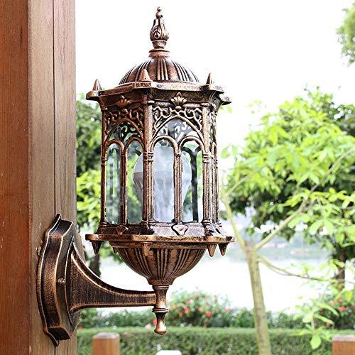 EGALIVE Candle Holders   Antique Exterior Wall Light Fixture Aluminum Glass Lantern Outdoor Garden Lamp