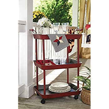 Vintage Red Serving Cart   Great For Bar Or Kitchen Storage