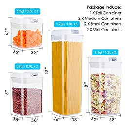 Airtight Food Storage Containers, Vtopmart 7 Pieces BPA Free Plastic Cereal Containers with Easy Lock Lids, for Kitchen…