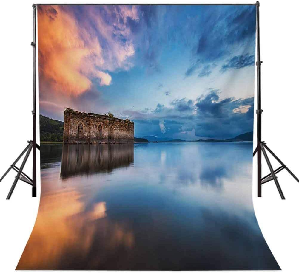 Rustic 6x8 FT Backdrop Photographers,Epic Long Exposure European Building in Dam with Water Historical Landmark Pirnt Background for Party Home Decor Outdoorsy Theme Vinyl Shoot Props Orange Blue