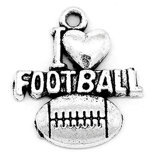 Football Charms I Love Football - 48 Pieces, 3/4 (Silver Tone)
