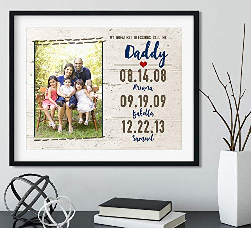 My Greatest Blessings Call me Daddy with Your Photo and Dates, Black Frame Available