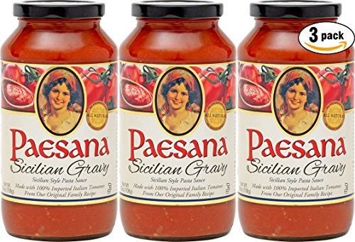 (Paesana Sicilian Gravy Sauce, All Natural Ingredients, 25oz (Pack of 3, Total of 75oz))