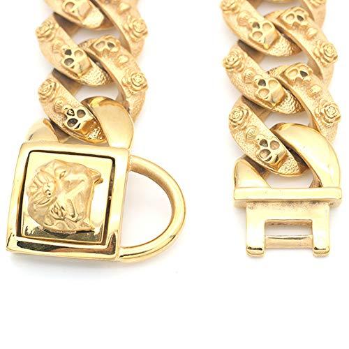 MUJING 30 mm Wide Hip Hop Gold Tone Cut Curb Cuban Link 316L Stainless Steel Dog Choke Chain Collar 40-70 cm,XXXL by MUJING (Image #2)