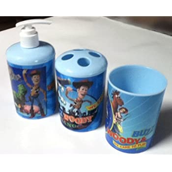 This item 3 Pc Toy Story Bath Set   Dispenser   Toothbrush Holder   Cup. Amazon com  3 Pc Toy Story Bath Set   Dispenser   Toothbrush