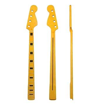 BQLZR 87 x 9,5 cm arce amarillo 21 trastes diapasón guitarra cuello para 4 Cuerdas PB Bass guitarra partes: Amazon.es: Instrumentos musicales