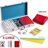 X-Large Numbered Tiles Mahjong Game Set. 144 Lucky Dog Pattern Aluminum case Complete set with pusher & table cover Gift / Birthday green/red/blue(Mah-Jongg, Mah Jongg, Majiang高品质麻将) (red)